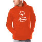 Under Armour Orange Armour Fleece Hoodie-Primary Mark Vertical