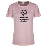 Ladies Performance Light Pink Tee-Primary Mark Vertical