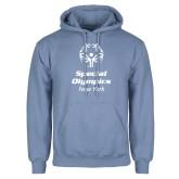 Light Blue Fleece Hoodie-Primary Mark Vertical