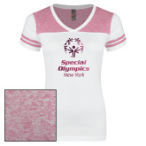 Ladies White/Heathered Pink Juniors Varsity V Neck Tee-Primary Mark Vertical Foil