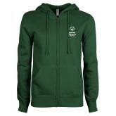 ENZA Ladies Dark Green Fleece Full Zip Hoodie-Primary Mark Vertical