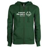 ENZA Ladies Dark Green Fleece Full Zip Hoodie-Primary Mark Horizontal