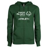 ENZA Ladies Dark Green Fleece Full Zip Hoodie-Athlete