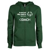 ENZA Ladies Dark Green Fleece Full Zip Hoodie-Coach