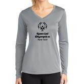 Ladies Syntrel Performance Platinum Longsleeve Shirt-Primary Mark Vertical