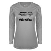 Ladies Syntrel Performance Platinum Longsleeve Shirt-Hashtag Be A Fan