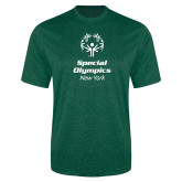 Performance Dark Green Heather Contender Tee-Primary Mark Vertical
