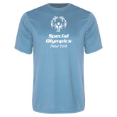 Performance Light Blue Tee-Primary Mark Vertical