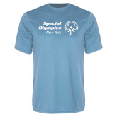 Performance Light Blue Tee-Primary Mark Horizontal