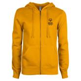 ENZA Ladies Gold Fleece Full Zip Hoodie-Primary Mark Vertical