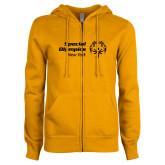 ENZA Ladies Gold Fleece Full Zip Hoodie-Primary Mark Horizontal