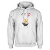 White Fleece Hoodie-Olympic Torch