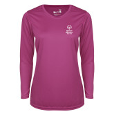 Ladies Syntrel Performance Raspberry Longsleeve Shirt-Primary Mark Vertical