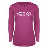 Ladies Syntrel Performance Raspberry Longsleeve Shirt-Primary Mark Horizontal
