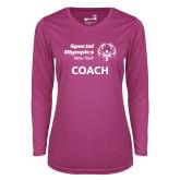 Ladies Syntrel Performance Raspberry Longsleeve Shirt-Coach