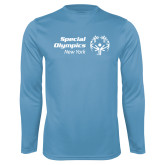 Performance Light Blue Longsleeve Shirt-Primary Mark Horizontal