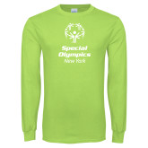 Lime Green Long Sleeve T Shirt-Primary Mark Vertical