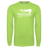 Lime Green Long Sleeve T Shirt-Law Enforcement Torch Run
