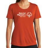 Ladies Syntrel Performance Orange Tee-Primary Mark Horizontal