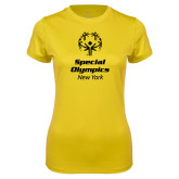 Ladies Syntrel Performance Gold Tee-Primary Mark Vertical