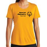Ladies Syntrel Performance Gold Tee-Primary Mark Horizontal