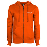 ENZA Ladies Orange Fleece Full Zip Hoodie-Primary Mark Horizontal