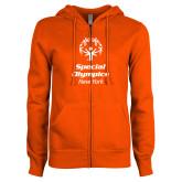 ENZA Ladies Orange Fleece Full Zip Hoodie-Primary Mark Vertical