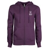 ENZA Ladies Purple Fleece Full Zip Hoodie-Primary Mark Vertical