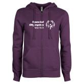 ENZA Ladies Purple Fleece Full Zip Hoodie-Primary Mark Horizontal