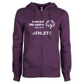 ENZA Ladies Purple Fleece Full Zip Hoodie-Athlete
