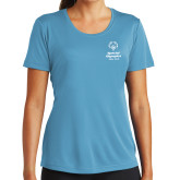 Ladies Syntrel Performance Light Blue Tee-Primary Mark Vertical