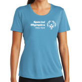 Ladies Syntrel Performance Light Blue Tee-Primary Mark Horizontal