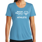 Ladies Syntrel Performance Light Blue Tee-Athlete