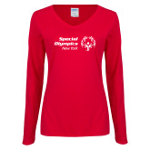 Ladies Red Long Sleeve V Neck Tee-Primary Mark Horizontal