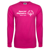 Cyber Pink Long Sleeve T Shirt-Primary Mark Horizontal
