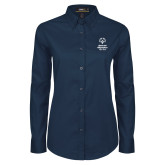 Ladies Navy Twill Button Down Long Sleeve-Primary Mark Vertical