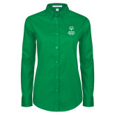 Ladies Kelly Green Twill Button Down Long Sleeve-Primary Mark Vertical