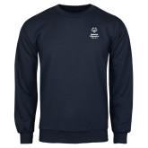 Navy Fleece Crew-Primary Mark Vertical