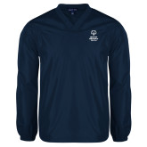 V Neck Navy Raglan Windshirt-Primary Mark Vertical