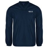 V Neck Navy Raglan Windshirt-Primary Mark Horizontal