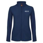 Ladies Fleece Full Zip Navy Jacket-Primary Mark Horizontal
