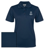 Ladies Navy Dry Mesh Polo-Primary Mark Vertical