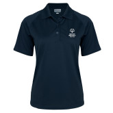 Ladies Navy Textured Saddle Shoulder Polo-Primary Mark Vertical