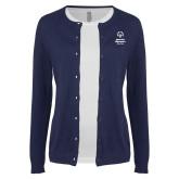 Ladies Navy Cardigan-Primary Mark Vertical