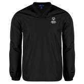 V Neck Black Raglan Windshirt-Primary Mark Vertical