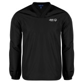 V Neck Black Raglan Windshirt-Primary Mark Horizontal
