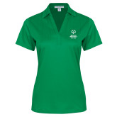 Ladies Kelly Green Performance Fine Jacquard Polo-Primary Mark Vertical