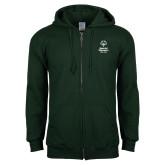 Dark Green Fleece Full Zip Hoodie-Primary Mark Vertical