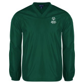 V Neck Dark Green Raglan Windshirt-Primary Mark Vertical