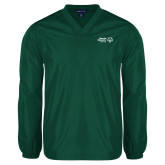 V Neck Dark Green Raglan Windshirt-Primary Mark Horizontal